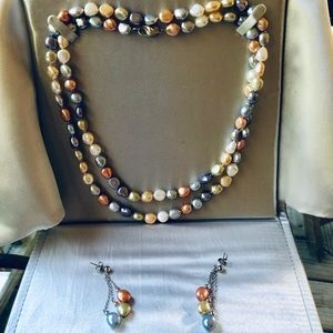 Fresh water pearl necklace and earrings